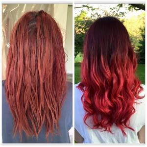 Before and after deep plum to red ombre