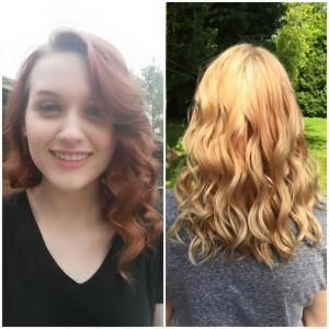 The hair before the colour remover, and after the colour remover, and two highlighting sessions.