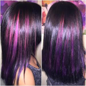 Black with pink to purple ombre around the crown of the head