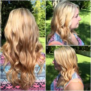 All-over blonde highlights